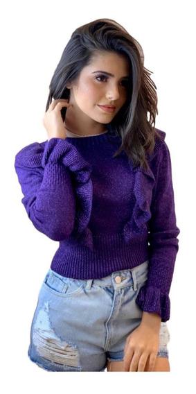 Blusas De Frio Feminina Tricot Modal Lurex Ref:059