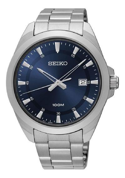 Relógio Seiko Masculino Prata Aço Fundo Azul Sur207b1 D1sx