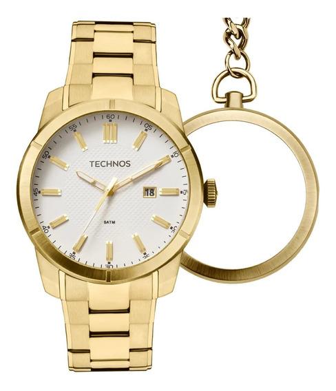 Relógio Masculino De Bolso E Pulso Retrô Dourado Technos