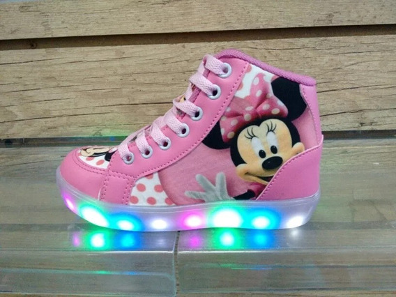 Botinha Minnie Mouse Led Brinde Um Par De Meia Do 20 Ao 34
