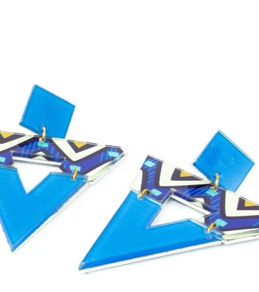 Brinco Afro Triângulo Blue