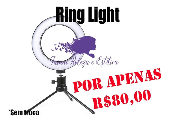 Ring Light Completo Iluminador Portátil 26cm Com Tripé 3500k 5500k