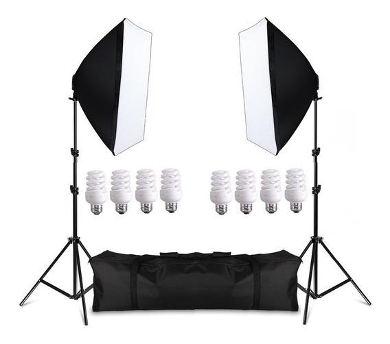 Kit Iluminação Beleza 360w Softbox 50x70cm Tripés Lampa