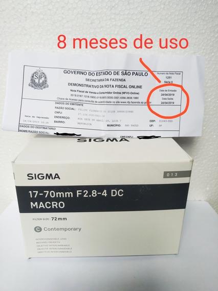 Lente Sigma 17-70 2.8-4 Impecável Com Apenas 8 Meses De Uso!