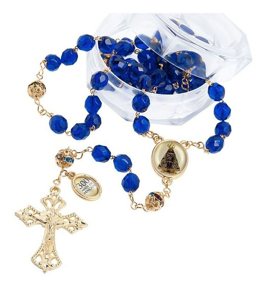 Terço Catolico Rosario Nossa Senhora Aparecida Azul Cristal