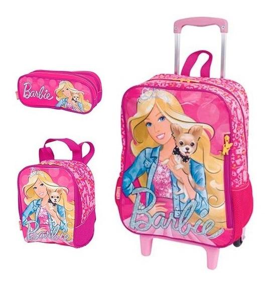 Kit Mochila Escolar Infantil Barbie Com Rodinha Gde