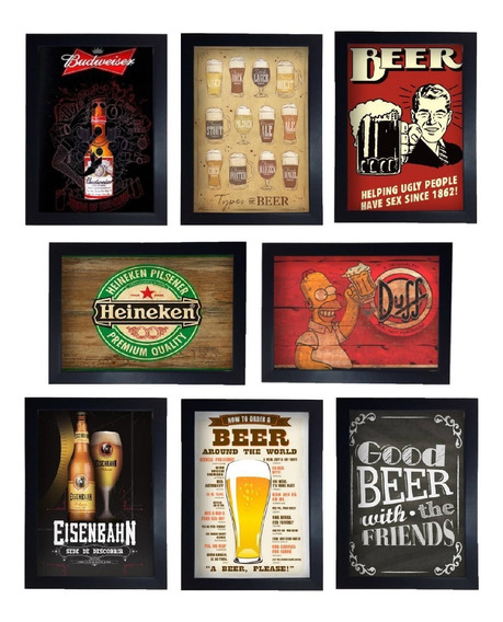Kit 8 Quadros Cerveja Vintage Retro Para Bar Bebidas Moldura