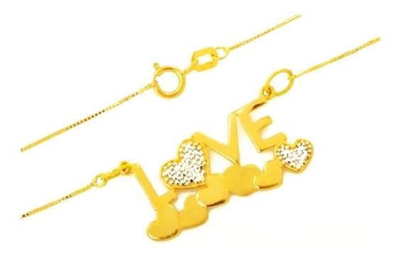 Corrente Feminina Ouro 18k Pingente Love Com 5 Brilhantes 45cm + Porta Joias 1546