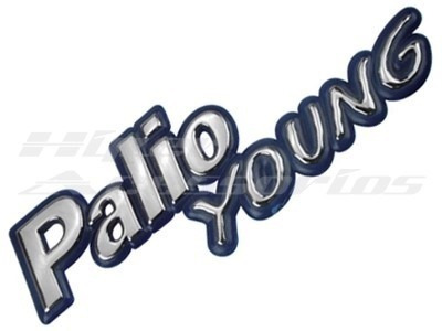 Emblema Alto Relevo Escrito Adesivo Palio Young Azul