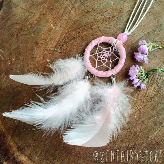 Colar Atrapa Sueños Pesadillas Rosa Pastel Dream Catcher