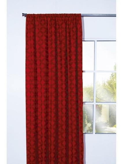 Cortina Diseño Geométrico Color Rojo Con Transparencia Media