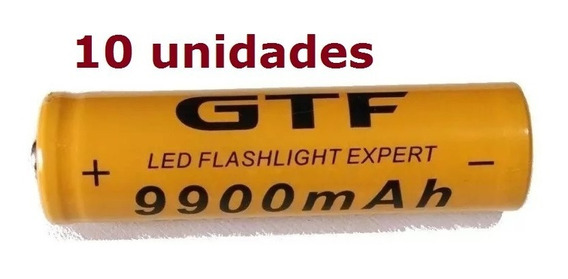 10 Pilha Bateria Recarregavel Gtf 18650 9900mah 3.7v Ion Litio Para Nodemcu Esp32 8266