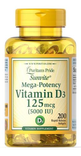 Vitamina D3 5000iu X200 Softgels - Mejora Sist. Inmunologico