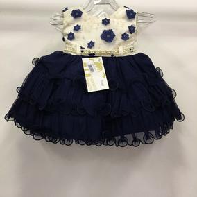 Vestido Super Luxo Bebê Azul Flores + Lacinho