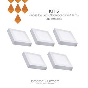 Kit 5 Placas De Led - Sobrepor-12w-17cm- Luz Amarela