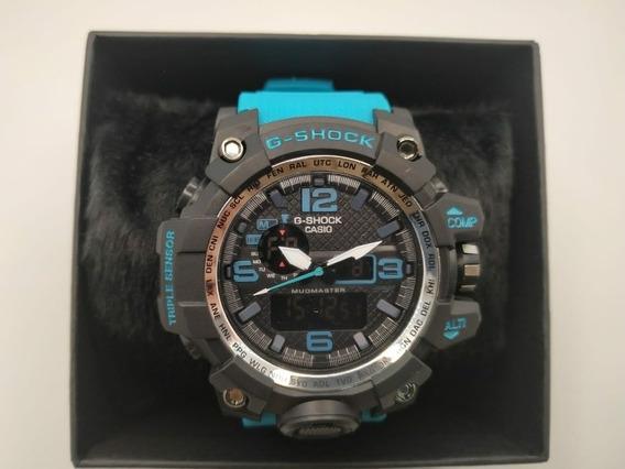 Relógio G-shock Modelo Mudmaster Azul Turquesa Com Preto
