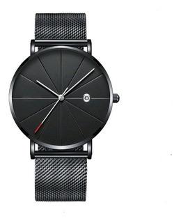 Relógio Masculino Classic Black Quartzo Pulseira Malha Aço