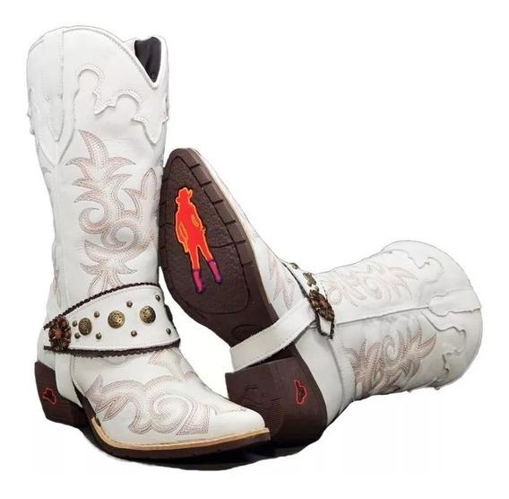 Bota Texana Country Feminino Cano Alto Couro Confortável