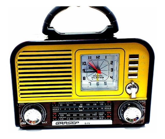 Radio Relogio Retro Grazep F9 Am Fm Sw Som Bluetooth Usb