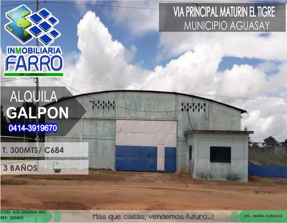 Alquiler De Galpon En Municipio Aguasay Al01-0002ma-mg