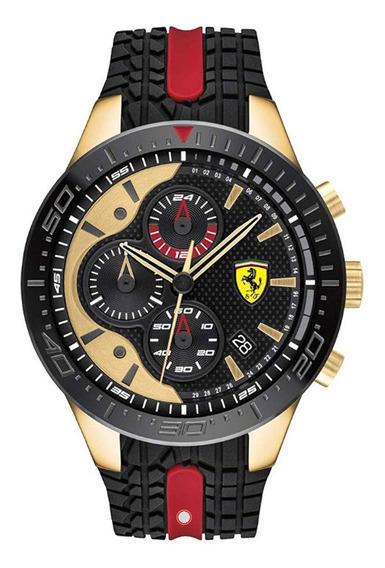 Relógio Ferrari Borracha Preto E Vermelho