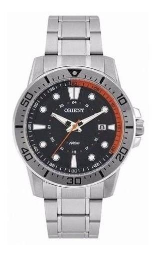 Relógio Orient Masculino Prata Com Calendário, Visor Preto P
