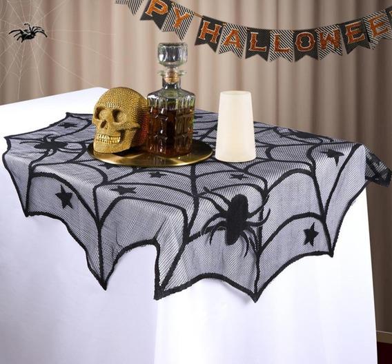 Halloween Telarañas Mantel Redondo Día Muertos Altar Arañas