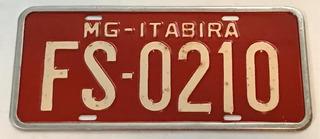 Placa Antiga Vermelha Mg Itabira Fs-0210 Veículo Comercial