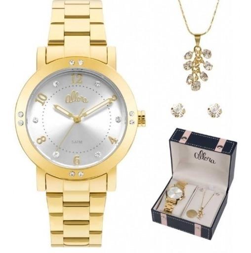 Relógio Allora Feminino Kit Semijoia Al2036ffq/k4k