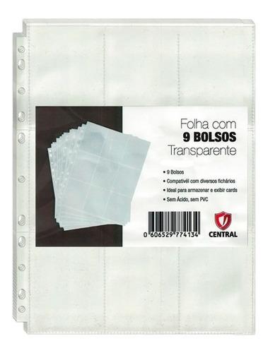 Imagem 1 de 2 de 50 Folhas Plástica P/ Fichário 9 Bolsos Central - Card Games