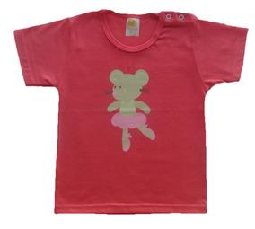 Camiseta Manga Curta Menina 1 Ano 100% Algodão Com Silk