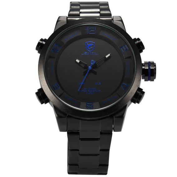 Desh049 Aço Faixa Duplo Exibição Quartz Relógio Mão Decoraçã