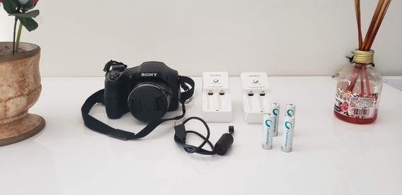 Câmera E Filmadora Sony Dsc H300 C/2 Carregadores,4 Baterias