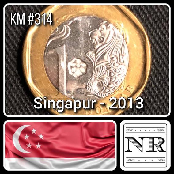 Singapur - 1 Dolar - Año 2013 - Km #314 - Bimetalica - Leon