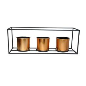 Vaso De Metal E Plástico Geo Forms 3 Retangular Cobre