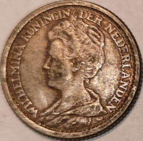 Holanda 1918 25 Cents Moneda Antigua Plata Wilhelmina L3004