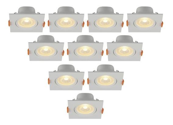 Spot Led Embutir 6 W Bivolt Quadrado 6500k Branco Frio 10 Pç