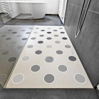 Adesivo Piso Banheiro Antiderrapante Bolinhas Em Cinza 14un