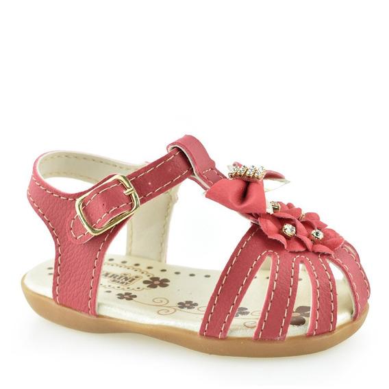 Sandália Para Menina Vermelha Baby Strass D Karini 291.15