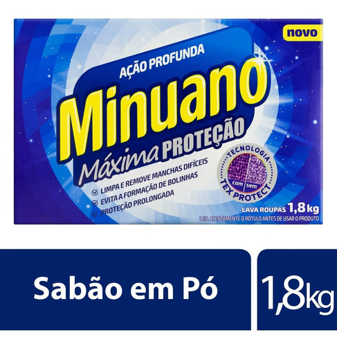 Detergente Em Pó Minuano Ação Profunda 1,8kg