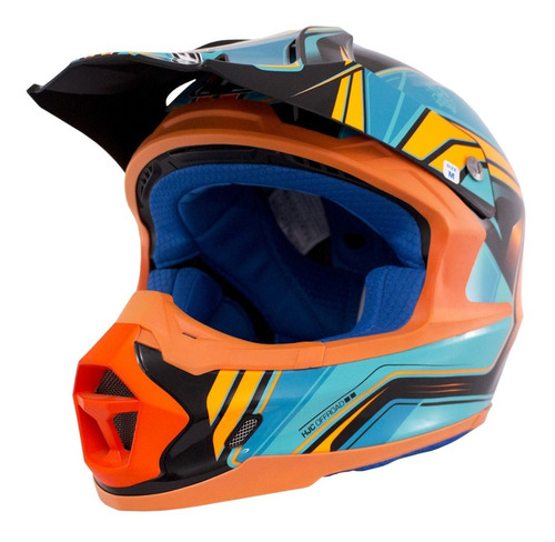 Casco Cross Hjc Fx-cross Piston Mc-4 Fibra De Vidrio