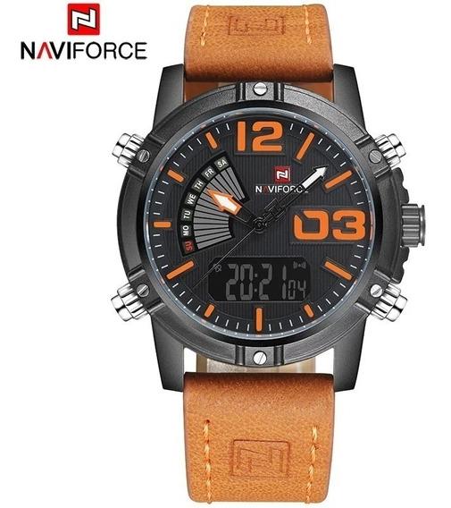 Relógio Masculino Naviforce 9095 Original Pulseira De Couro