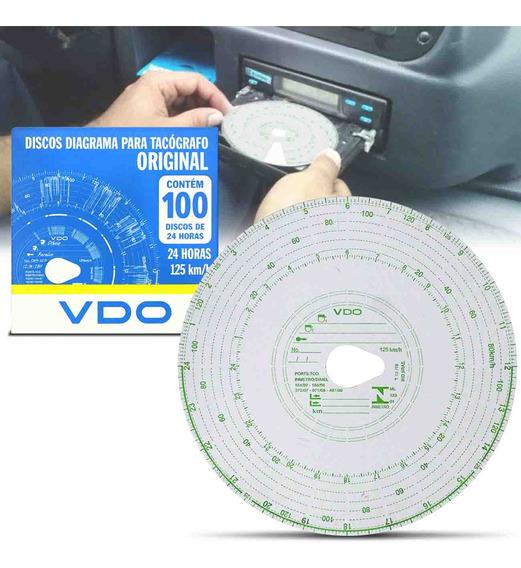 Disco Diagrama Tacógrafo Diário Vdo 125km 24h 100 Unidades