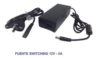 Fuente Switching Transformador 12v 4a Tira Led Cctv Plástica