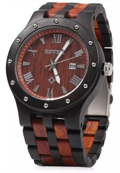 Relógio De Pulso Masculino Em Madeira De Bambu Bewell.