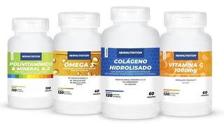 Kit Colágeno+vitamina C +ômega 3+polivitamínico Newnutrition
