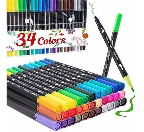Rotuladores De Doble Punta De Pincel De Color 34, Punto De