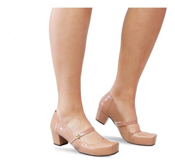Sapato Social Salto Baixo Grosso Feminino Confortavel 4011