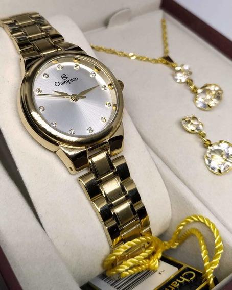 Relógio Original Champion Dourado + Colar E Brinco Ch24946w