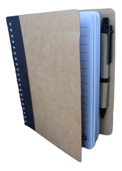 Libreta Cuaderno Ecologico 1/2 Carta Pasta Dura Con Bolígrafo 13 X 18cm 70 Hojas